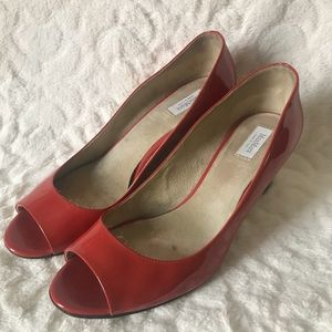 MAX MARA Red Patent Leather Peep Toe Wedge Size 10